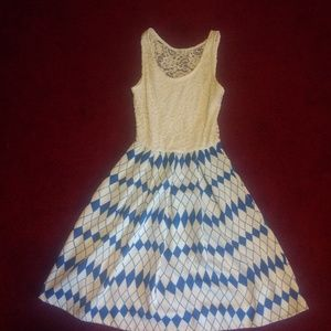 Women's Blue S Lace Top Dress Small